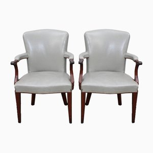 Cream Leather Armchairs, 1960s, Set of 2