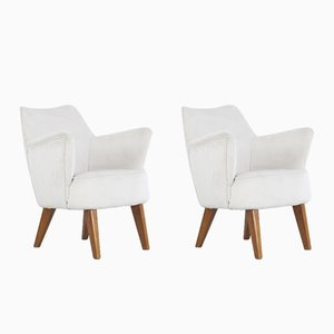 Velvet & Walnut Armchairs by Gio Ponti for Cassina, 1950s, Set of 2