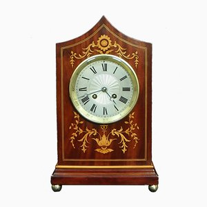 French Mahogany & Inlaid Mantel Clock, 1890s