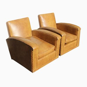 Tan Leather Club Chairs, 1940s, Set of 2