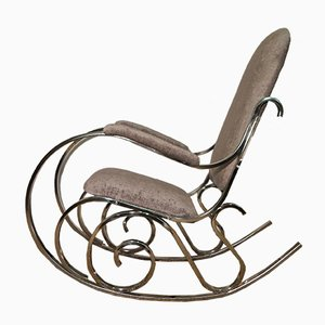 French Mid-Century Chrome Rocking Chair from Maison Jansen, 1970s