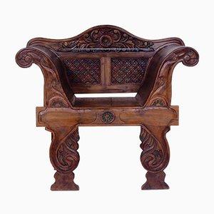 Sedia Throne antica intagliata, fine XIX secolo