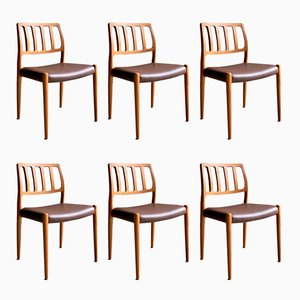 Teak & Leather Model 83 Dining Chairs by Niels Moller for J.L. Møllers, 1970s, Set of 6