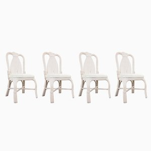 Vintage Rattan Chairs, 1980s, Set of 4