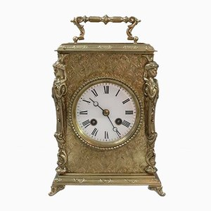 French Belle Epoque Brass Mantel Clock from Japy Freres, 1890s