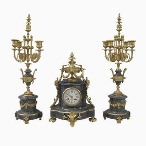Antique French Grey Marble & Bronze Gilt Clock, Set of 3