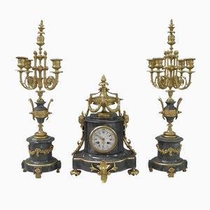 Orologio e candelabri antichi in marmo grigio e bronzo dorato, Francia, set di 3