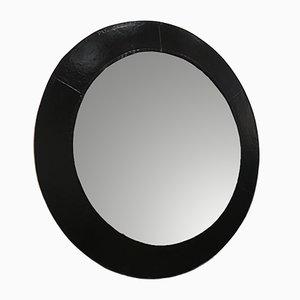 Espejo Mid-Century circular con marco de cuero