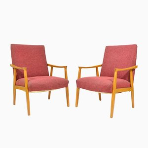 Tschechische Mid-Century Sessel mit rotem Sitzpolster von TON, 2er Set