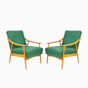 Vintage Green Armchairs, Set of 2