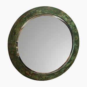 Espejo Mid-Century circular con marco de cobre