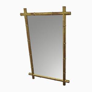 Antiker Spiegel mit Rahmen aus vergoldetem Kunstbambus