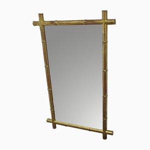 Espejo antiguo de madera dorada imitando bambú