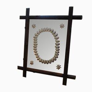 Specchio in legno di noce intagliato, XIX secolo