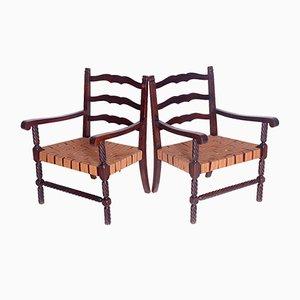 Armlehnstühle mit geschnitztem Gestell, 1950er, 2er Set