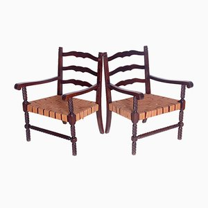 Carved Armchairs, 1950s, Set of 2