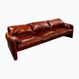 675 Maralunga Leather Sofa by Vico Magistretti for Simone Cassini, 1970s