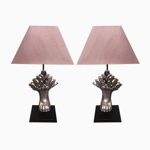 Vernickelte Vintage Lampen, 2er Set