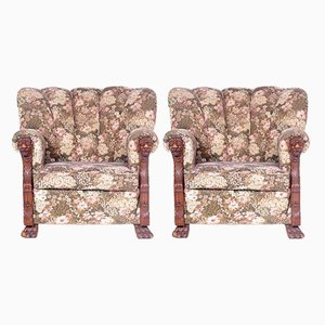 Antique Czech Club Armchairs, Set of 2