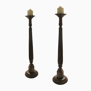 Large Antique Candlesticks, Set of 2