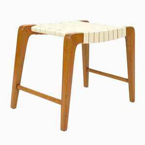 Mid-Century Woven Fabric and Beech Stool