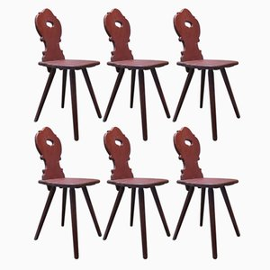 Antique Alpine Painted Pine Chairs, Set of 6