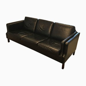 Vintage Three-Seater Leather Sofa by Børge Mogensen