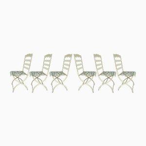 Große antike Stühle mit Gestell aus Gusseisen & Sitzgeflecht, 6er Set