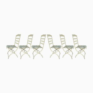 Large Antique Wrought Iron Bandstand Chairs, Set of 6