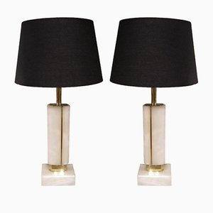 Mid-Century Alabaster Table Lamps, Set of 2
