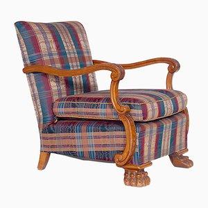 Tschechischer Vintage Sessel mit geschnitztem Gestell