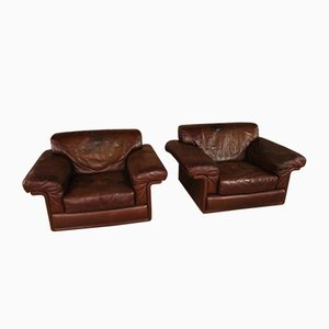 Vintage Leather Armchairs from de Sede, Set of 2