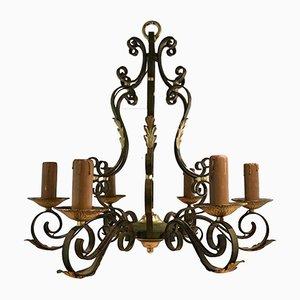 Lámpara de araña de hierro forjado, años 20
