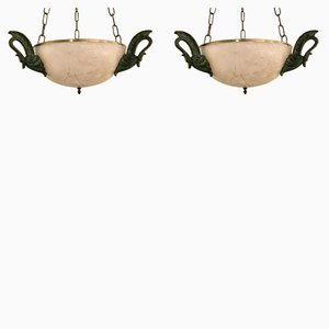 Alabaster and Bronze Ceiling Lights, 1950s, Set of 2