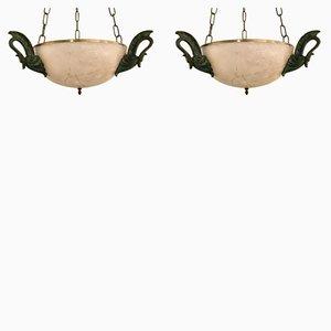 Deckenlampe aus Alabaster & Bronze, 1950er, 2er Set