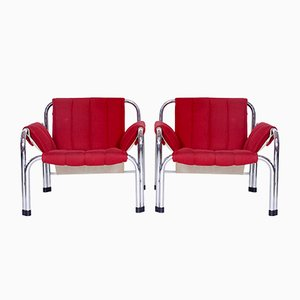 Vintage Chrome Armchairs by Viliam Chlebo for Kodreta Myjava, Set of 2