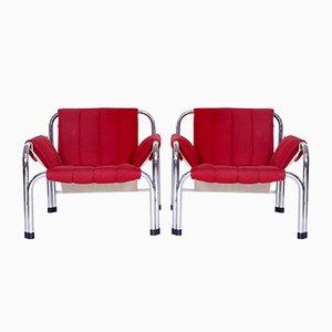 Vintage Sessel mit Gestell aus Chrom von Viliam Chlebo für Kodreta Myjava, 2er Set