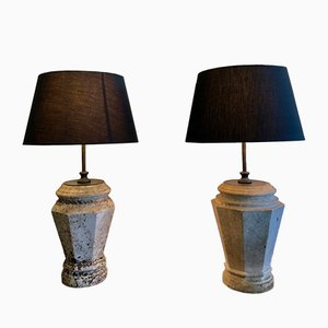 Vintage Marble Lamps, Set of 2