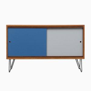 Kleines Vintage Sideboard aus Nussholz mit farbigen Türen