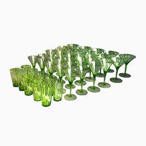 Set di bicchieri grande Art Déco in vetro verde, Austria, anni '20