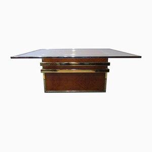 Table Basse en Chrome, Laiton et Noyer par Renato Zevi, 1970s