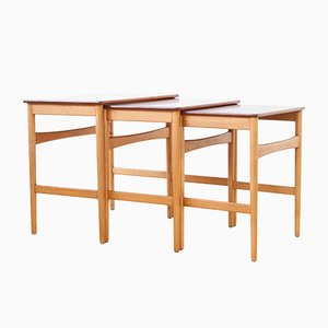 Mid-Century AT-40 Nesting Tables by Hans J. Wegner for Andreas Tuck