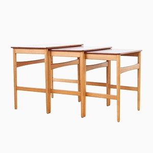 Tavolini ad incastro AT-40 Mid-Century di Hans J. Wegner per Andreas Tuck