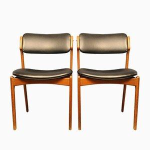 Dänische Stühle mit Gestell aus Teak von Erik Buch für OD Møbler, 1960er, 2er Set
