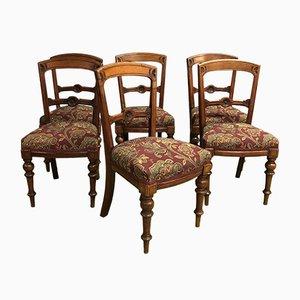 Chaises Victoriennes Antiques en Acajou, Set de 6