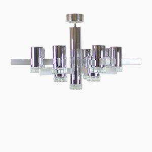Lámpara de araña vintage con 13 puntos de luz de Gaetano Sciolari, años 70