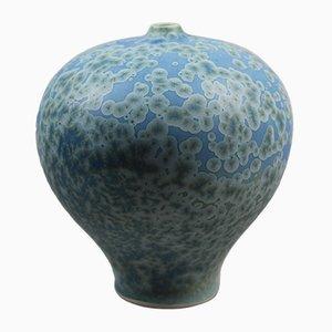 Blaue Vase aus kristallisiertem und glasiertem Porzellan von Hein Severijns, 1990er