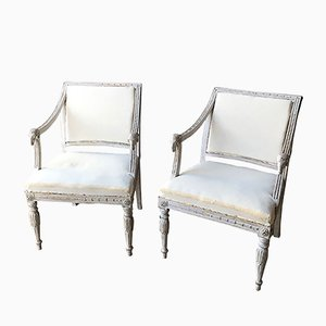 19th Century Swedish Ram Head Chairs, Set of 2