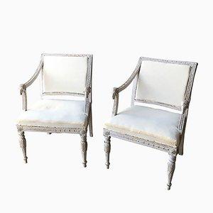 Schwedische Stühle mit Widderkopf-Motiven, 19. Jh., 2er Set