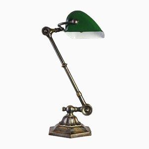 Vintage Bankierlampe aus Messing von Dugdills